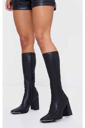 PrettyLittleThing PU Toe Cap Square Toe Calf Heeled Sock Boots