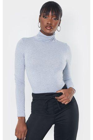 PRETTYLITTLETHING Women Bodies - Tall Grey Roll Neck Bodysuit
