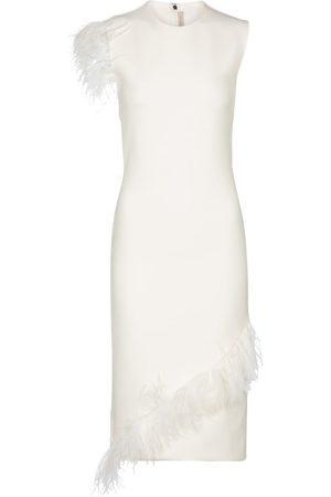 Christopher Kane Feather-trimmed wool-blend dress