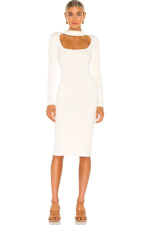 525 America Cut Out Mock Neck Dress in Ivory.