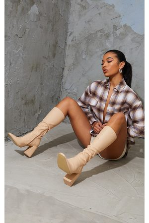 PRETTYLITTLETHING Women Heeled Boots - Nude PU Toe Cap Square Toe Calf Heeled Sock Boots