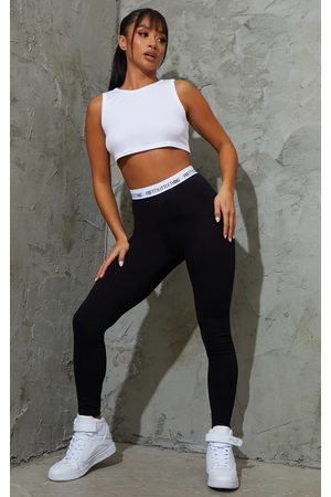 PRETTYLITTLETHING Petite Slogan Waistband Leggings