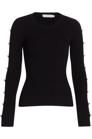 JONATHAN SIMKHAI Women's Giulianna Compact Rib Diamonte Cutout Sleeve Top - - Size Small