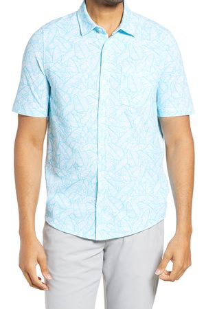 Cutter & Buck Men's Reach Regular Fit Stretch Print Short Sleeve Button Down Shirt