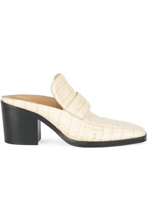 Bottega Veneta Women's Croc-Embossed Leather Loafer Mules - - Size 41 (11)