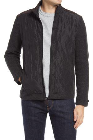 Johnston & Murphy Men's Quilted Panel Zip Cardigan Sweater