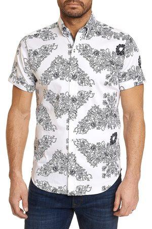 Robert Graham Men's Stern Floral-Print Short-Sleeve Shirt - - Size Medium