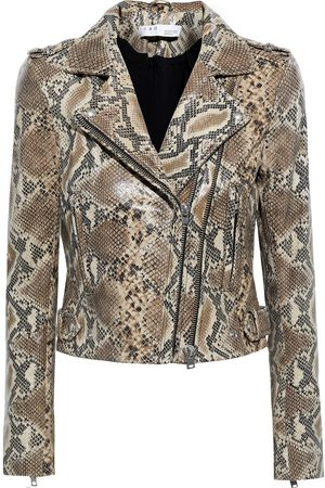 IRO Woman Luiga Snake-effect Leather Biker Jacket Animal Print Size 34