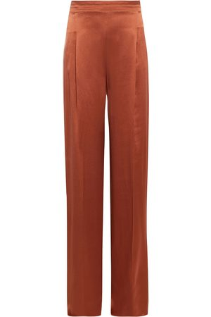 Max Mara Woman Babele Pleated Silk-satin Crepe Wide-leg Pants Copper Size 36