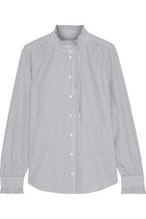 Frame Woman Pleated Striped Cotton-poplin Shirt Size L