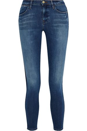 Frame Woman Le High Skinny Frayed High-rise Skinny Jeans Mid Denim Size 23