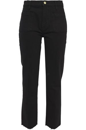 Frame Woman Le High Straight Frayed High-rise Straight-leg Jeans Size 23