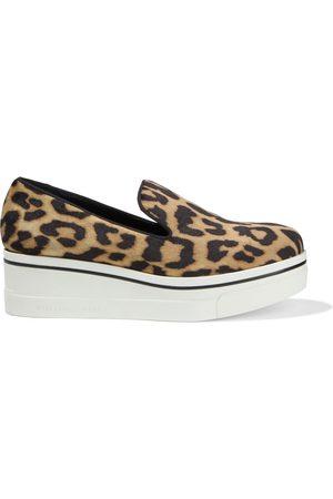 Stella McCartney Woman Binx Leopard-print Velvet Platform Slip-on Sneakers Animal Print Size 35