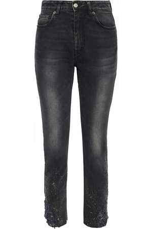 IRO Woman Serma Cropped Distressed Painted High-rise Skinny Jeans Charcoal Size 24