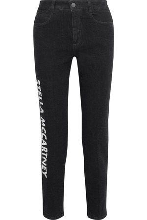 Stella McCartney Woman Printed Crinkled High-rise Slim-leg Jeans Dark Denim Size 25