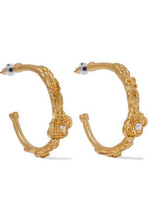 Kenneth Jay Lane Woman 22-karat -plated Faux Pearl Hoop Earrings Size