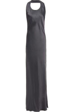 Helmut Lang Woman Asymmetric Open-back Satin Maxi Dress Anthracite Size 2