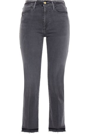 Frame Woman Le High Straight Distressed High-rise Straight-leg Jeans Charcoal Size 23