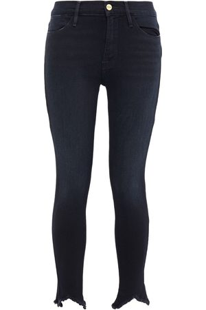 Frame Woman Le High Double Triangle Frayed Mid-rise Skinny Jeans Size 24