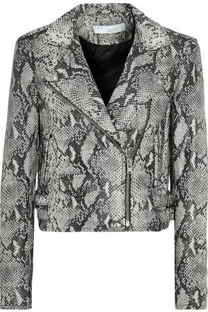 IRO Woman Ashville Snake-effect Leather Biker Jacket Animal Print Size 34