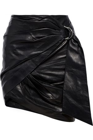 IRO Woman Dybal Wrap-effect Belted Leather Mini Skirt Size 34