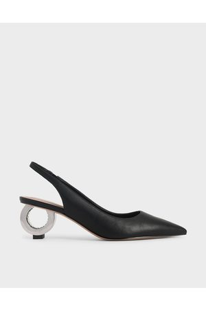CHARLES & KEITH Sculptural Chrome Heel Slingback Pumps