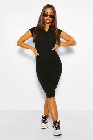 Boohoo Womens High Neck Zip Detail Midi Dress - - 4