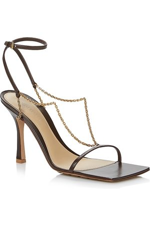 Bottega Veneta Women's Square Toe Chain Strap High Heel Sandals