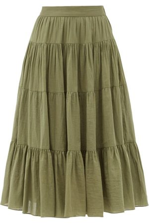 Loup Charmant Fontelli Tiered Organic-cotton Midi Skirt - Womens