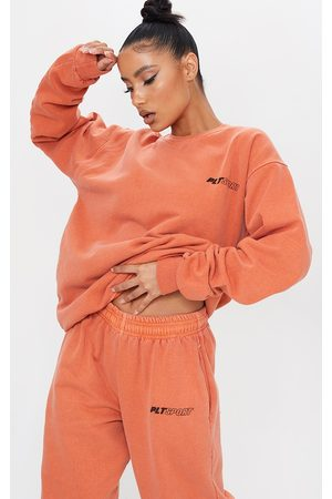 PRETTYLITTLETHING Rust Oversized Sport Sweater