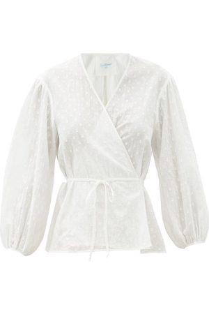 Loup Charmant Women Wrap tops - Eloise Swiss-dot Organic-cotton Wrap Blouse - Womens