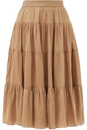 Loup Charmant Fontelli Tiered Organic-cotton Midi Skirt - Womens - Camel