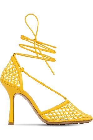 Bottega Veneta Women Heels - 90mm Mesh & Leather Lace-up Pumps