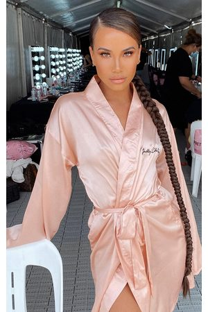 PRETTYLITTLETHING Embroidered Rose Satin Robe