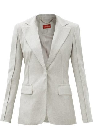 Altuzarra Shira Single-breasted Brushed-twill Suit Jacket - Womens - Light Grey