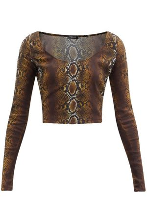 VERSACE Women Crop Tops - Scoop-neck Python-print Jersey Top - Womens - Animal