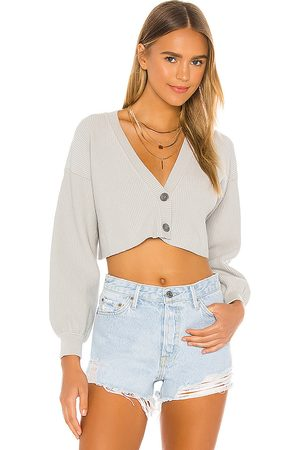 Lovers + Friends Cropped Ribbed Cardigan in Light Grey.