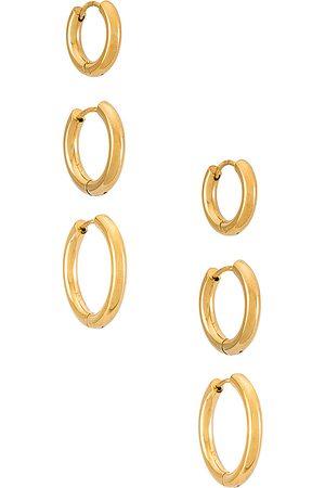 Shashi Triples Hoop Set of 3 in Metallic .