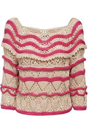Alberta Ferretti Bicolor Cotton Knit Sweater