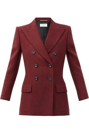 Saint Laurent Women Blazers - Double-breasted Houndstooth-wool Jacket - Womens