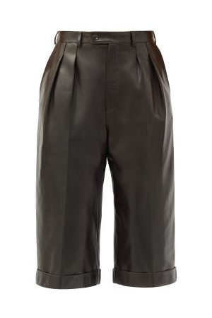 Saint Laurent High-rise Leather Bermuda Shorts - Womens