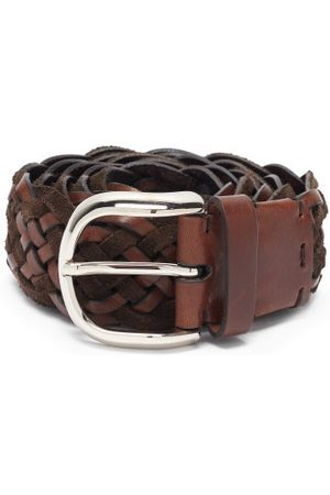 Brunello Cucinelli Woven Suede And Leather Belt - Mens
