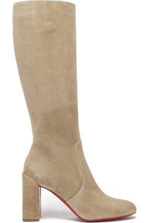 Christian Louboutin Cavalika 85 Suede Knee Boots - Womens