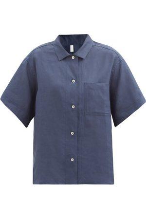 Rossell England Patch-pocket Linen Pyjama Shirt - Womens - Navy