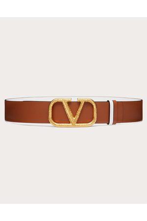 VALENTINO GARAVANI Women Belts - Reversible Vlogo Signature Belt In Grainy Calfskin 40 Mm Women Saddle/ 100% Pelle Di Vitello - Bos Taurus 75
