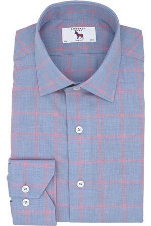 LORENZO UOMO Men's Trim Fit Windowpane Dress Shirt