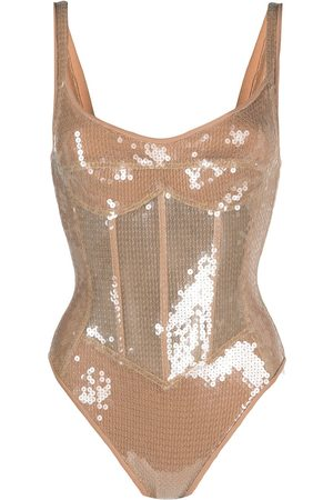 DAVID KOMA Sequin-embellished corset bodysuit