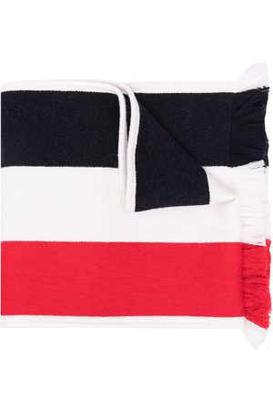 Thom Browne Men Scarves - Jacquard large stripe fringe scarf