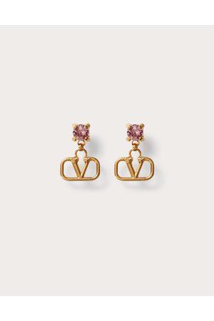 VALENTINO GARAVANI Vlogo Signature Metal And Rhinestone Earrings Women / 100% Brass OneSize