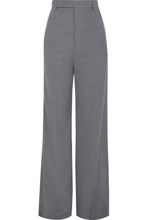 Rick Owens Woman Loose Tux Satin-trimmed Wool-blend Crepe Wide-leg Pants Slate Size 42
